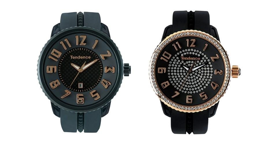 Relógios masculino e feminino; R$ 1.310 e R$ 1.579 respectivamente, na Tendence  (Tel.: 11 3037 8882)