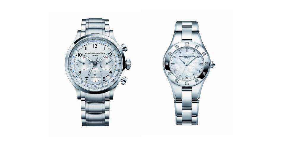Relógios masculino e feminino; R$ 9.940 e R$ 8.260 respectivamente, na Baume et Mercier