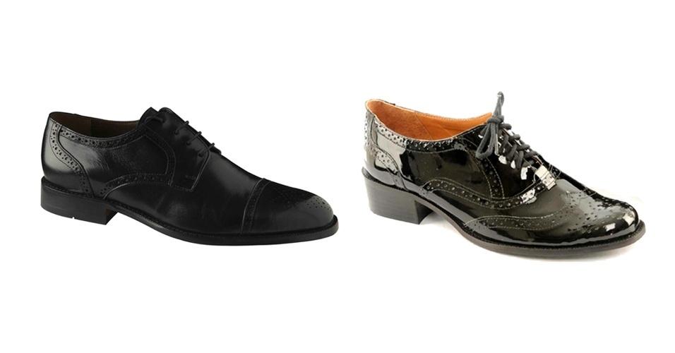 Sapato oxford masculino; R$ 239, na Borelli (Tel.: 21 3209-2170). Sapato oxford feminino de verniz; R$ 299, na Imporium (Tel.: 21 2247-7262)