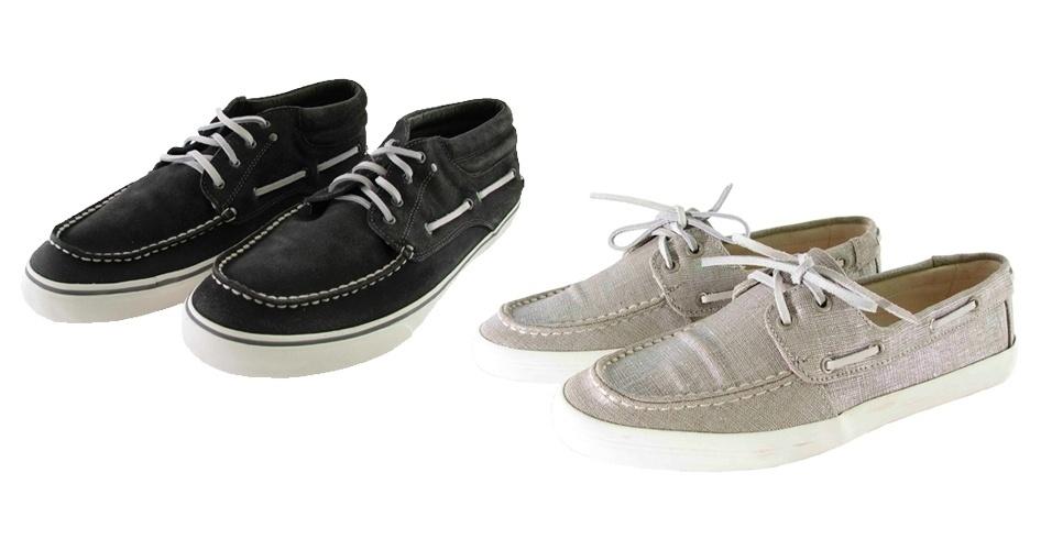 Sapatos dock sider masculino e feminino; R$ 279 e R$ 229, na Wollner (Tel.: 21 2239-3222)