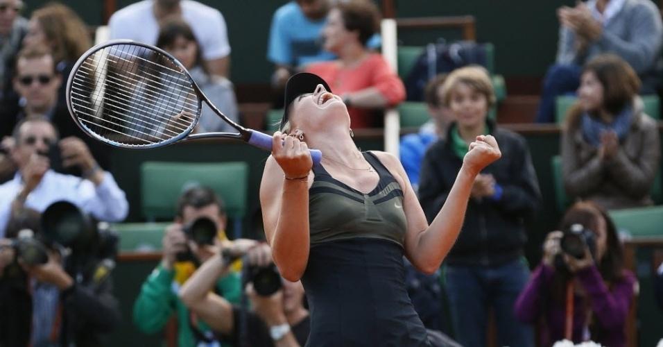 Sharapova vibra muito após vencer Kvitova e avançar à decisão em Roland Garros