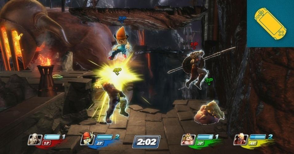 """PS VITA - MENÇÃO HONROSA: A Sony mostra sua versão do estilo de luta em 2D popularizado por """"Smash Bros."""" em """"PS All-Stars Battle Royale"""", que coloca personagens famosos para brigar. Junte a isso a possibilidade de Cross-Play com o Playstation 3 e temos mais um forte título para a biblioteca do PS Vita."""