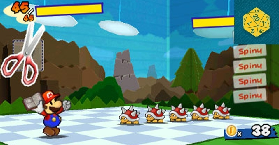 """RPG - VENCEDOR: Em uma E3 com escassas opções para os fãs de RPG, """"Paper Mario"""" oferece uma boa opção para fãs tanto do gênero quanto do encanador da Nintendo. O jogo promete unir um visual retrô com os gráficos em terceira dimensão do portátil da Nintendo."""