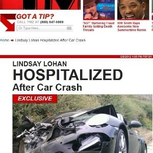 Foto mostra Porsche de Lindsay Lohan destruído após colisão com caminhão