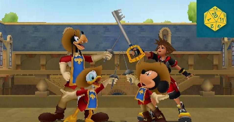 """RPG - MENÇÃO HONROSA: Neste novo """"Kingdom Hearts"""", mais uma vez une heróis de """"Final Fantasy"""" com Disney, o jogador luta ao lado de monstros domesticados ao invés de personagens como Pateta e Pato Donald, possibilitando transformar adversários em aliados."""