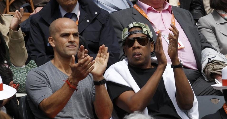 O rapper Jay-Z assiste ao duelo entre Rafael Nadal e David Ferrer