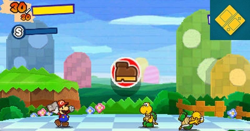 """3DS - VENCEDOR: O RPG do encanador mais famoso dos games retorna com adesivos que concedem poderes a Mario e batalhas em turno em """"Paper Mario 3DS"""". O jogo de apelo retrô traz ainda muitas das roupas tradicionais, como a Frog Suit de """"Super Mario 3""""."""