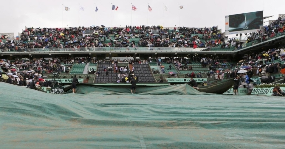 Organizadores cobrem quadra de Roland Garros para proteger da chuva