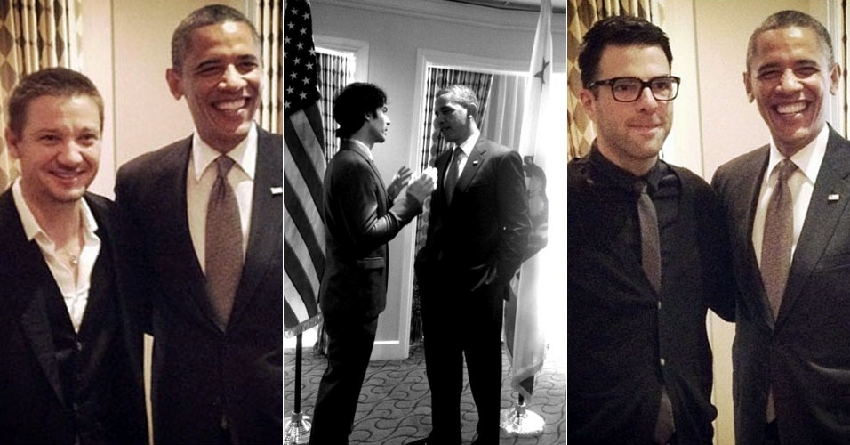 Por conta da campanha de reeleição, Barack Obama se reúne com os atores Jeremy Renner, Ian Somerhalder e Zachary Quinto (7/6/12)
