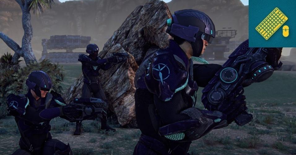 """PC - MENÇÃO HONROSA: Shooter com elementos persistentes de MMO, """"Planetside 2"""" oferece belos gráficos, uma grande variedade de veículos em batalhas gigantescas por territórios envolvendo milhares de jogadores."""