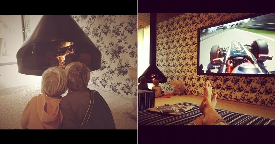 Angélica e Huck mostram foto dos filhos se aquecendo na lareira de casa (9/6/2012)