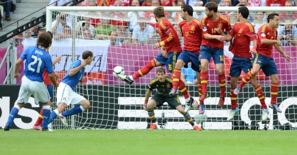 Barreira pula, mas não consegue afastar a cobrança de falta de Pirlo, que foi defendida pelo goleiro Casillas