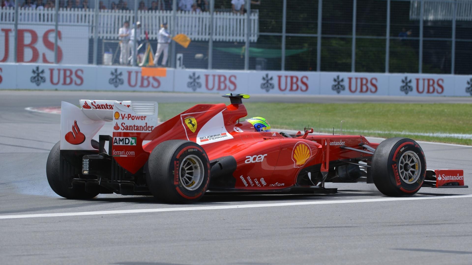 Felipe Massa, depois de um bom início, rodou sozinho e perdeu muitas posições no GP do Canadá