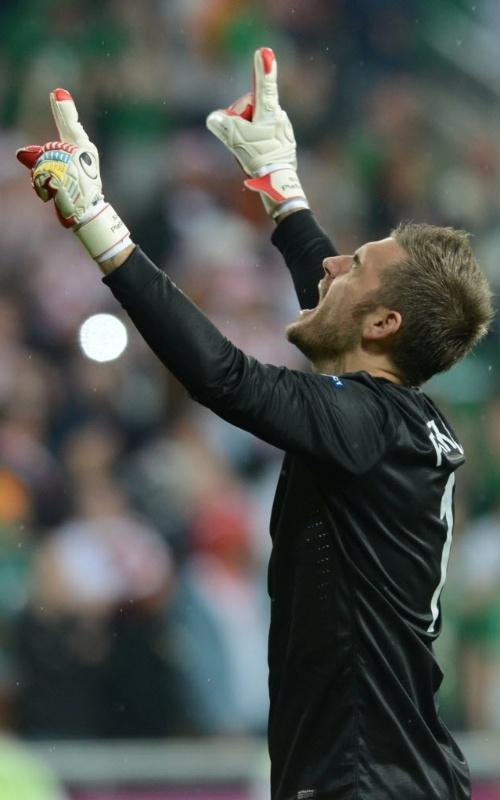Goleiro croata Stipe Pletikosa celebra gol durante partida da Euro 2012 contra a Irlanda neste domingo
