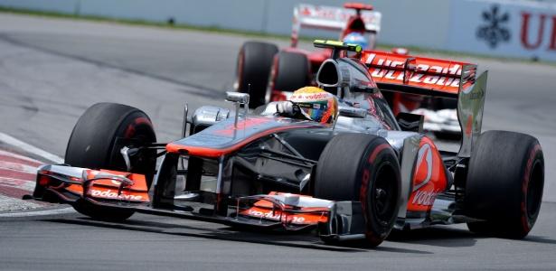 Hamilton em ação no GP do Canadá; o inglês fez ótima prova e assumiu a liderança