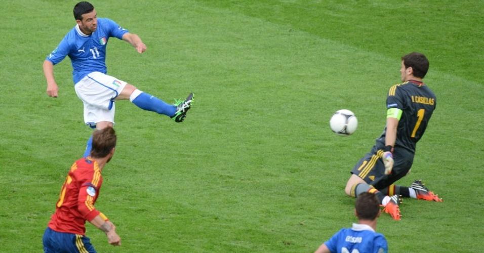 Italiano Antonio Di Natale chuta para anotar gol contra a Espanha neste domingo pela Eurocopa