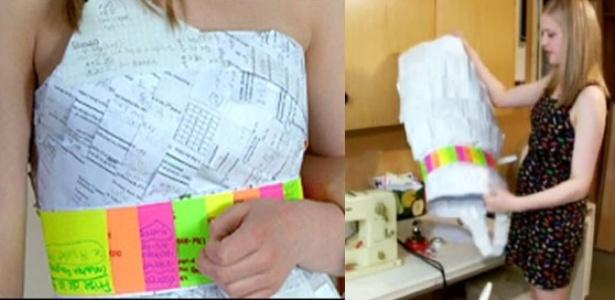A canadense Kara Koskowich, 17, e seu vestido de lição-de-casa