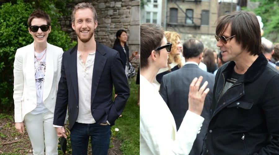 Acompanhada do namorado Adam Shulman, a atriz Anne Hathaway conferiu o desfile da estilista Stella McCartney na Semana de Moda de Nova York (12/6/12)