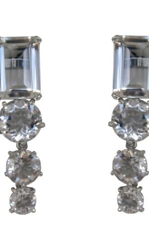 Brinco em prata com quartzo incolor da joalheria LaSpiniella (www.laspiniella.com.br). No local, o aluguel da peça sai por R$ 358. Preço pesquisado em junho de 2012 e sujeito a alterações