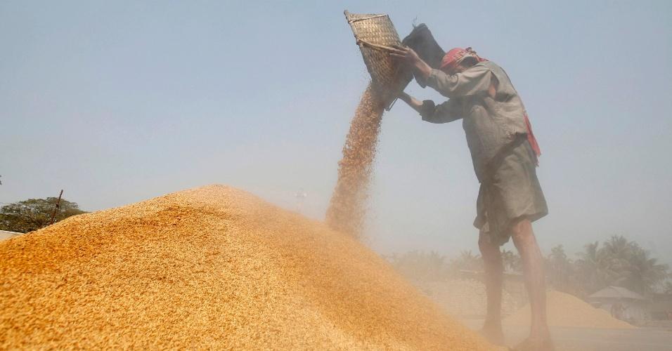 Na foto, um trabalhador nos campos de arroz da cidade de Agartala, no norte da Índia