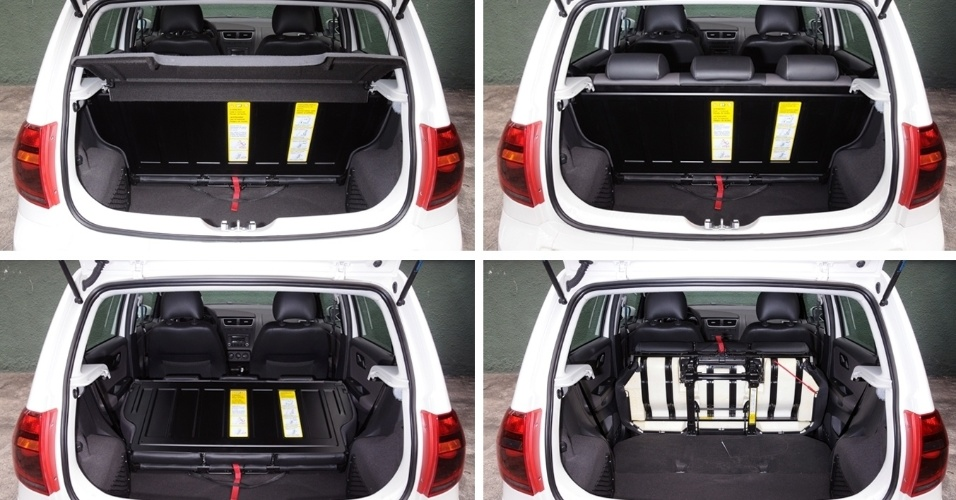 No detalhe, porta-malas de 260 litros de capacidade e todos os estágios de rebatimento do banco traseiro