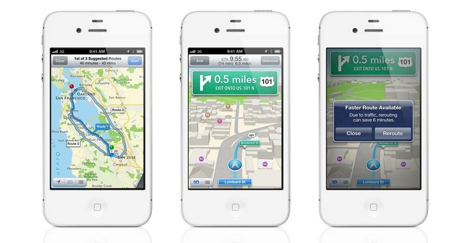 Recursos do iOS 6 - Apple Mapas