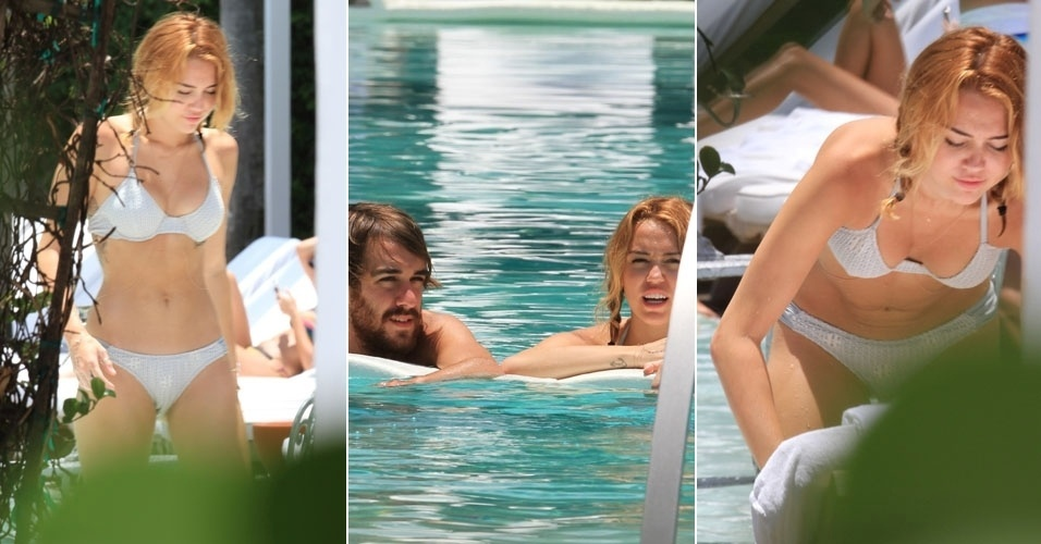 Com biqu&#237;ni prateado, Miley Cyrus toma banho de piscina com amigo (13/6/12)