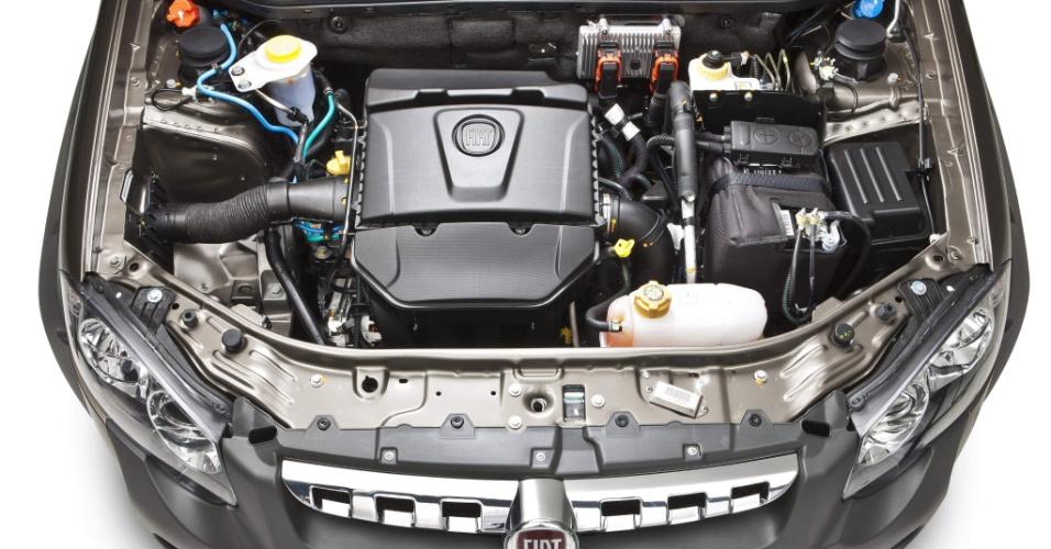 A Fiat optou por manter o motor 1.8 E.torq, de 16V, para a Strada Adventure: são 132 cv e 18,9 kgfm de torque, com etanol no tanque