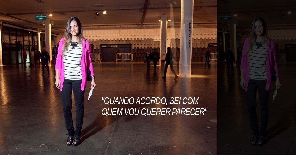 Luana Meneguetti, 27, produtora de moda, veste blusa Sly, calça Two Denim, cardigã Forever 21, sapato Carmin, bolsa Arezzo e colar Marize (13/06/2012)