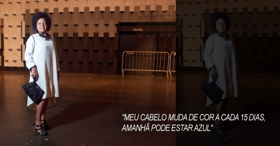 No segundo dia do SPFW Verão 2013, a consultora de moda Ana Amélia, 42, usou vestido Essenciale, bolsa e sapato Ronaldo Fraga e acessórios da marca mineira Mary Design (12/06/2012)