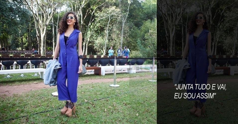 Cibelle, 34, cantora e artista plástica, veste macacão comprado em um brechó, sapato Lucas Nascimento, óculos de uma lojinha de beira de estrada no México e brincos Pax Salon, de Londres  (14/06/2012)