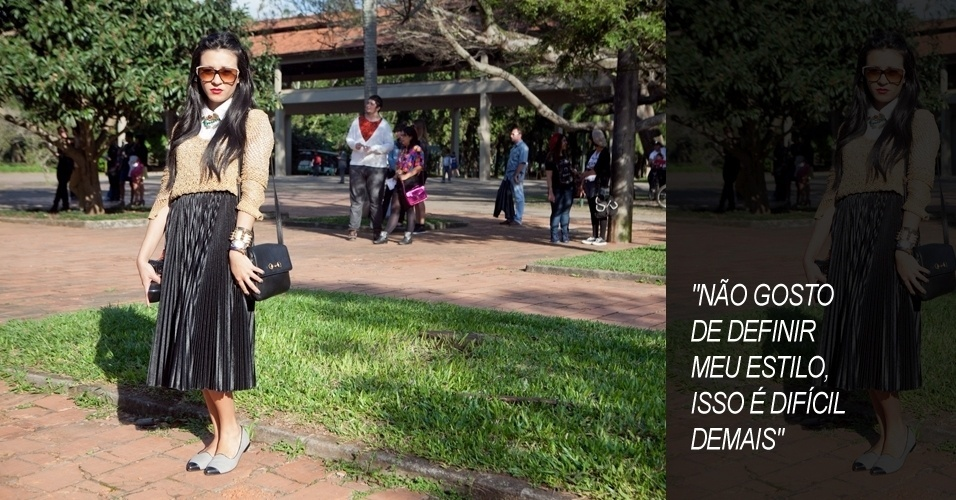 Suzana Amaral, 19, estudante de moda, veste look total de brech&#243; e &#243;culos (14/06/2012)