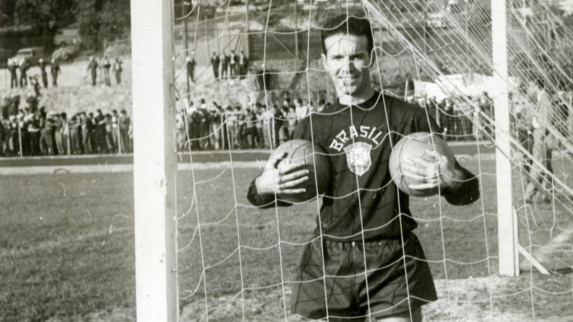 Zagallo em treino da seleção brasileira para a Copa de 62