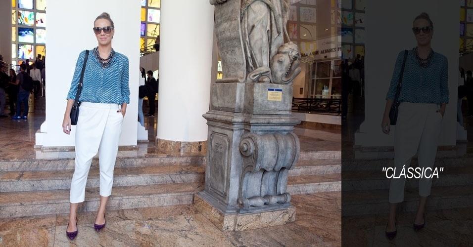 Bia Paes de Barros, 34, consultora de moda, usa camisa Isabel Marant, calça NK Store, sapato Bô.Bô, bolsa Tila March e colar Duza (15/06/2012)