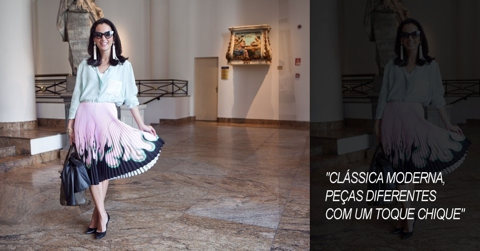 Joana Nolasco, 29, coordenadora de estilo da Via Flores, combina blusa Andrea Marques a saia Prada, brincos Oscar de la Renta, sapato Manolo Blahnik, bolsa Hermes e óculos Tom Ford (15/06/2012)