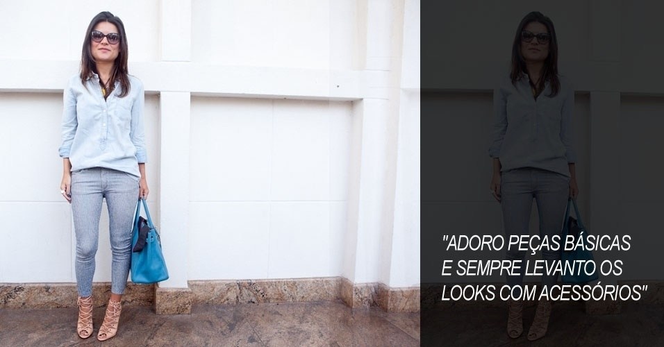Sofia Alckmin, 32, blogueira, veste camisa Shoulder, calça Etiqueta Negra, sandália Schutz e bolsa Hermes (15/06/2012)