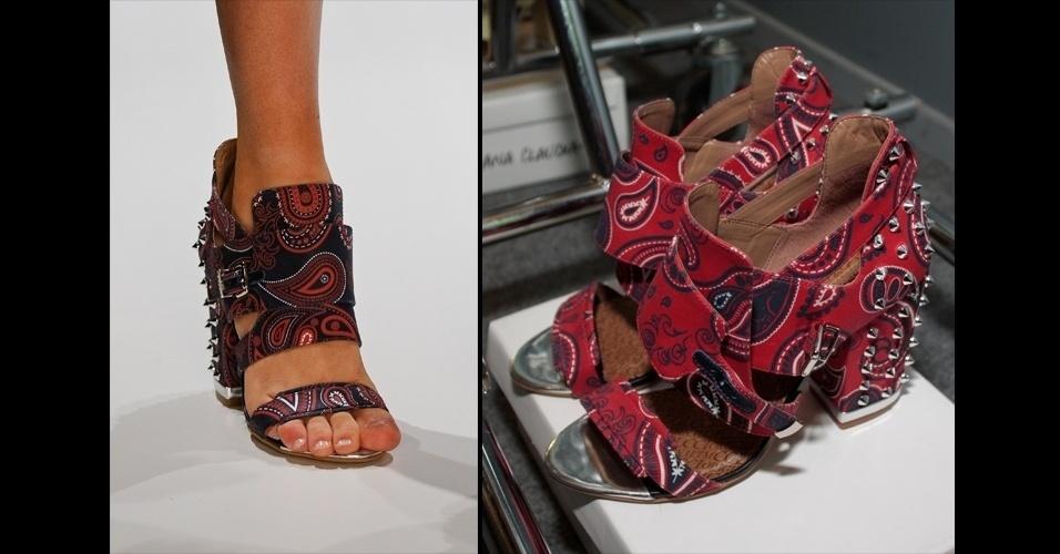 """A moda das tachinhas também permanecem para o verão. A Colcci apresentou sapatos pesados, com estampas e aplicações de pequenos """"spikes"""""""