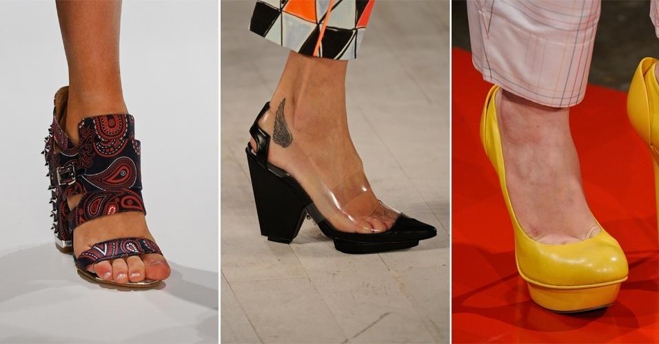 """Além de ditar o que é tendência em cor, modelagem e estampa, as passarelas também mostram o que será usado nos pés na próxima estação. Com o fim da edição de Verão 2013 do SPFW, o UOL selecionou os principais sapatos desfilados e mostra o que vai """"pegar"""" daqui seis meses"""