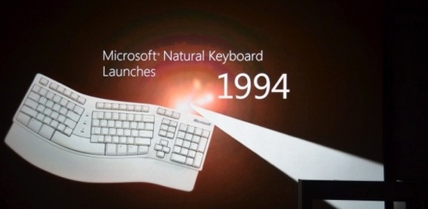 Teclado da Microsoft durante apresentação
