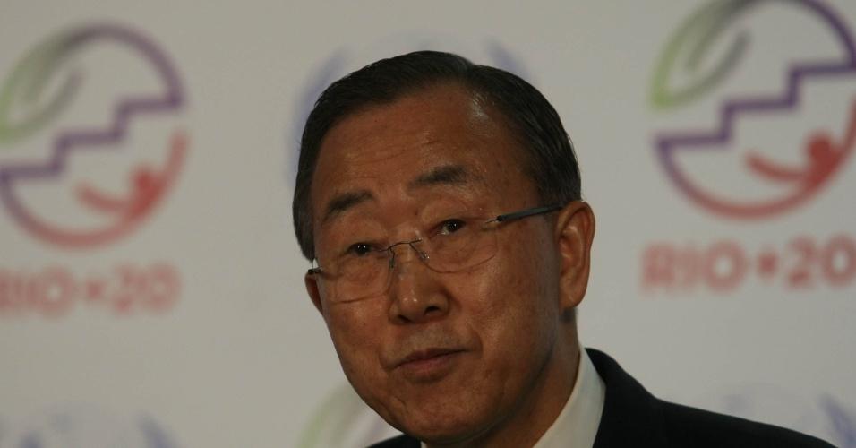 20.jun.2012 - O secretário-geral da ONU, Ban Ki-moon, concede entrevista coletiva na Rio+20, Conferência da ONU sobre o Dsenvolvimento Sustentável