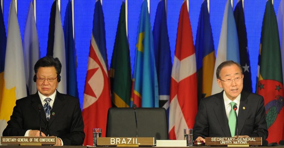 20.jun.2012 - O secretário-geral da ONU, Ban Ki-moon, discursa na Rio+20, Conferência da ONU para o Desenvolvimento Sustentável