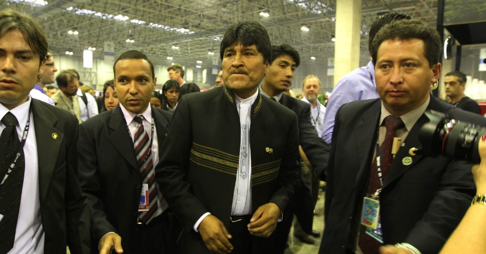 20.jun.2012 - Presidente da Bol&#237;via, Evo Morales, compareceu ao Rio+20, Confer&#234;ncia da ONU sobre Desenvolvimento Sustent&#225;vel