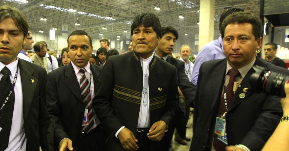 20.jun.2012 - Presidente da Bolívia, Evo Morales, compareceu ao Rio+20, Conferência da ONU sobre Desenvolvimento Sustentável