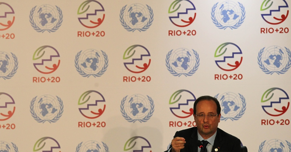 20.jun.2012 - Presidente da França, François Hollande, concede entrevista coletiva durante a Rio+20, Conferência da ONU sobre Desenvolvimento Sustentável
