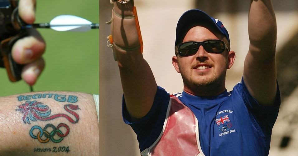 Laurence Godfrey, arqueiro britânico, tatuou não só os aros olímpicos como também o símbolo da delegação de seu país