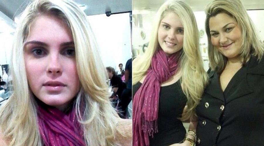 Bárbara Evans clareou os cabelos em um salão de beleza (21/6/12)