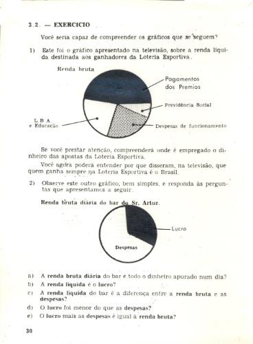 """Exercício no volume 1 do livro de apoio do curso supletivo """"João da Silva"""" (1974)"""