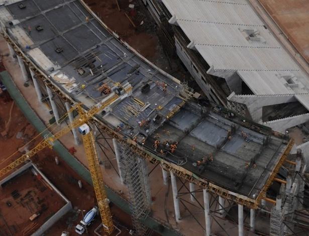 Obras do Estádio Nacional Mané Garrincha, em Brasília, no início de junho de 2012