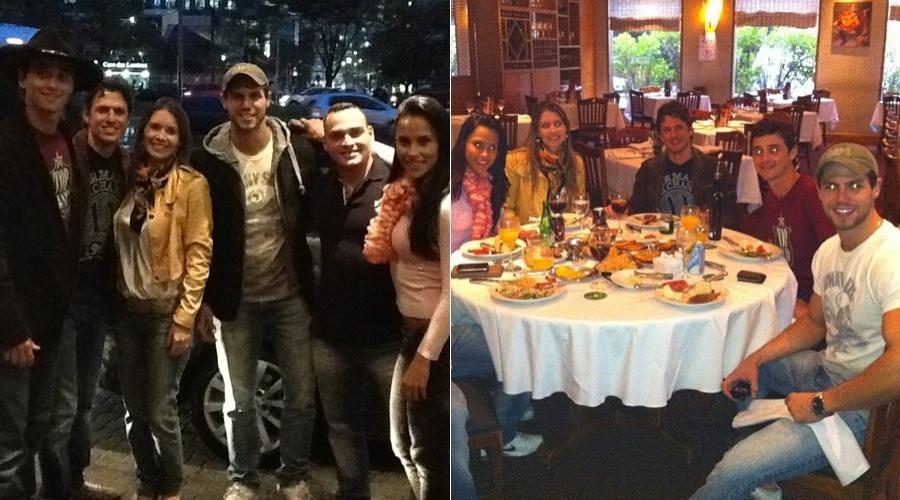 Os ex-BBB's Fael, João Maurício, Jonas e Kelly (em sentido horário) se reencontraram em um restaurante, em São Paulo (21/6/12)