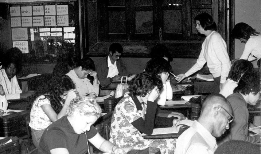 """Prova do curso supletivo oferecido com apoio da novela """"João da Silva"""" (1974)"""